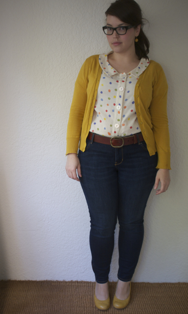 confetti top with jeans and cardigan