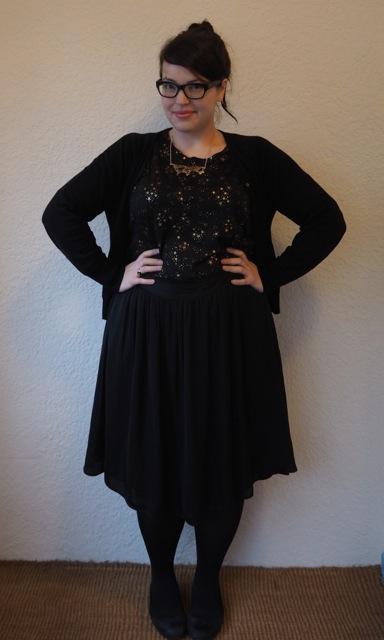 Starry Top & Black Skirt
