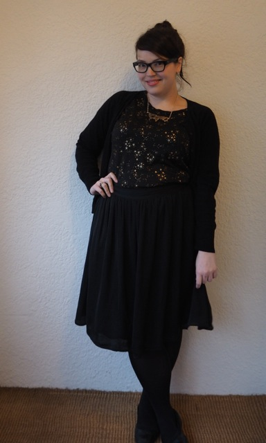 Starry Top & Black Skirt