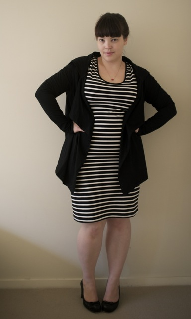 The plus size striped dress from 17 Sundays with hooded cardigan
