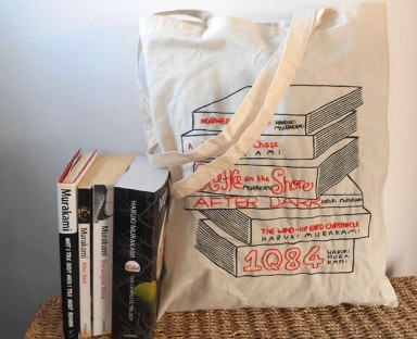 embroidered book tote
